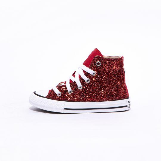 all star hi red glitter kid