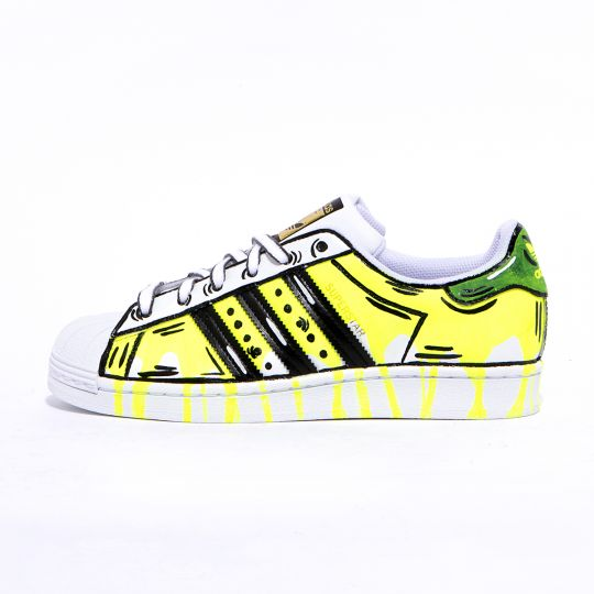 adidas superstar neon pouring paint
