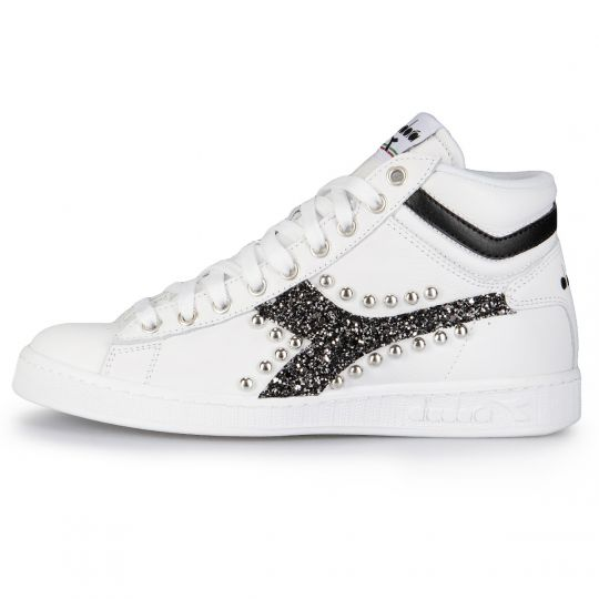 Diadora Game Hi Opt. White Glitter Black