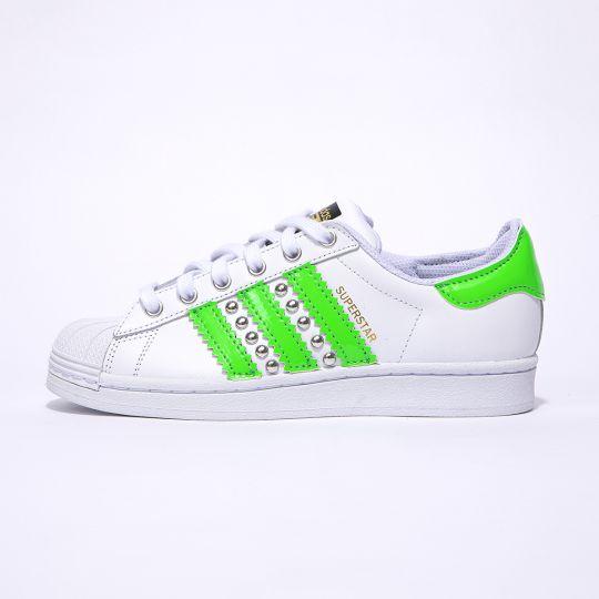 Adidas Superstar Neon Green Stripes
