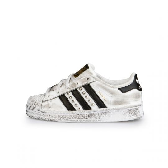 Adidas Superstar White Black Dirty Studs Kid