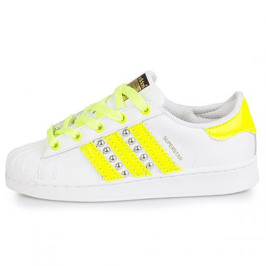adidas superstar yellow neon studs