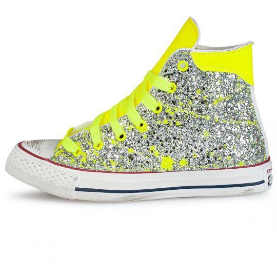 all star hi de-la glitter drip fluo yellow  xx