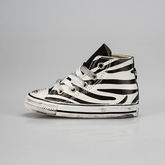 All Star Hi Black Animalier  Zebra Kid