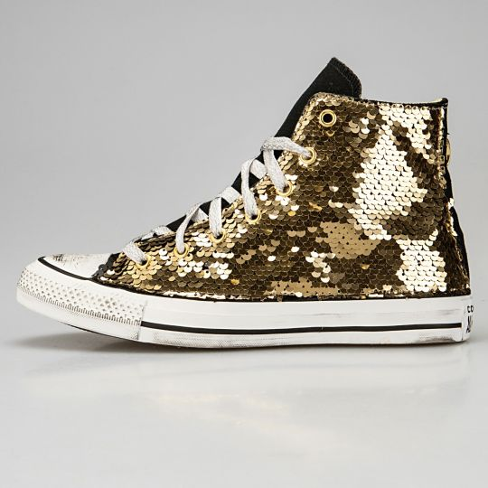 All Star Hi Black Pailettes Gold Pytho