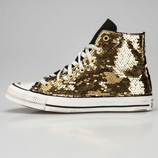 All Star Hi Black Pailettes Gold