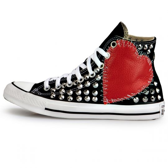 All Star Hi Black Sewed heart Full studs
