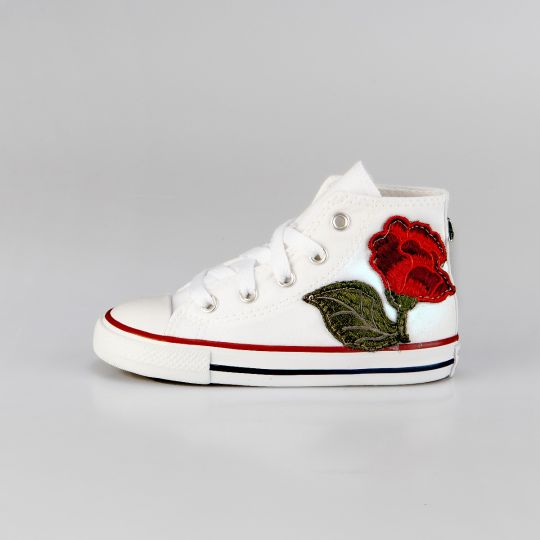 All Star Hi White Patch Flower Kid