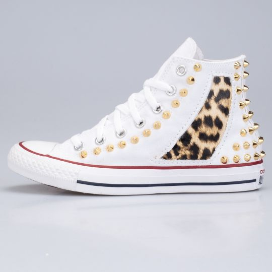 All Star Hi White Punk Animalier Gold