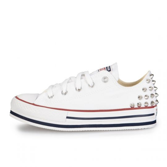All Star White Platform Low Studs 27-32