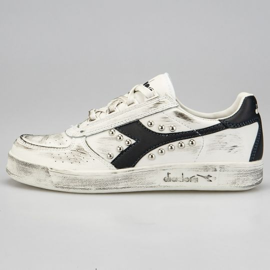 Diadora Elite White Black Dirty Swoosh