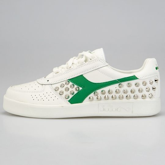Diadora Elite White Green Studs