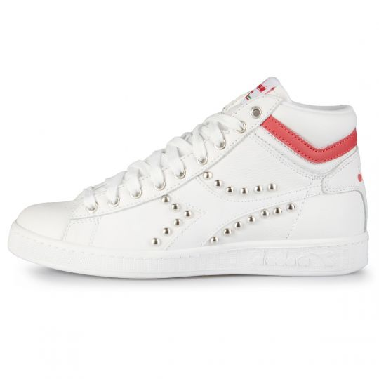 Diadora Game Hi Opt. White Swoosh Red