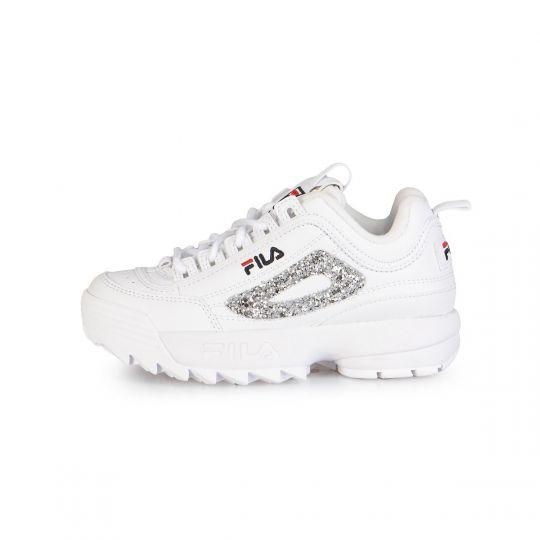 fila disruptor white glitter kid xx