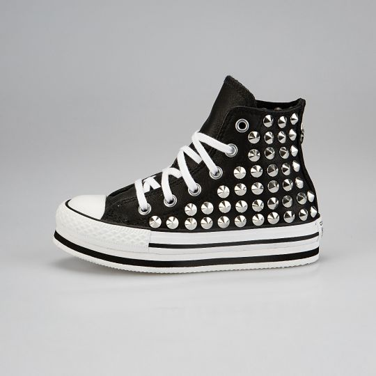 Platform Hi Black Full Studs Kid Pelle