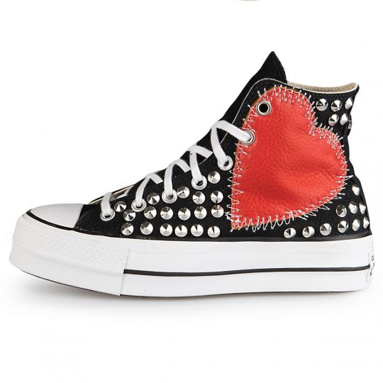 Platform Hi Black Sewed heart Full studs