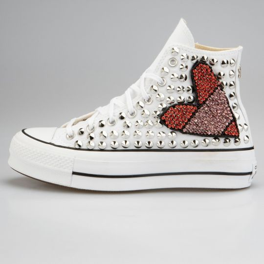 Platform Hi White Love-patch Studs