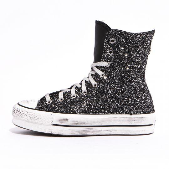 platform hyper black glitter pelle