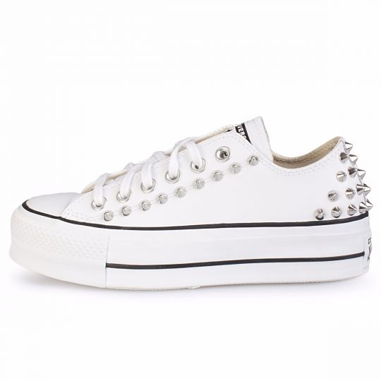 platform low white back studs pelle
