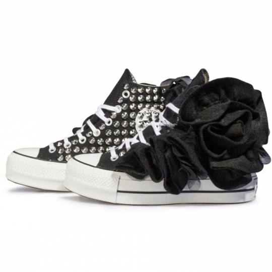 WOLLSTONEFLOWER BLACK PLATFORM HI