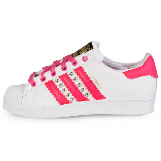 adidas superstar fuxia neon studs