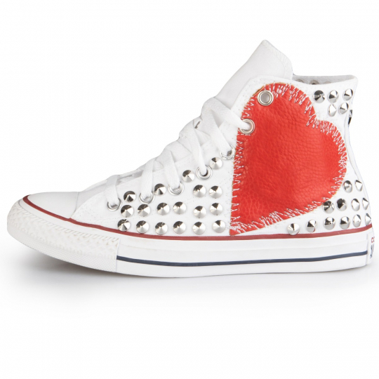 Converse All Star Hi White Sewed heart Full studs