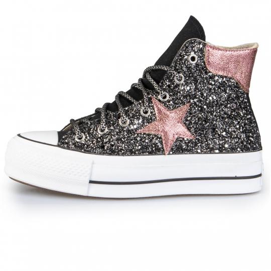 Converse Platform Hi Black De-la stars Dark Rose