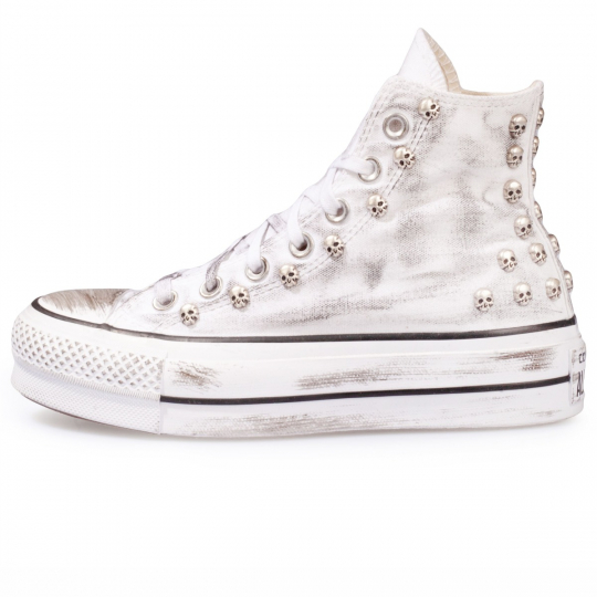 Dirty Skull Platform White Hi