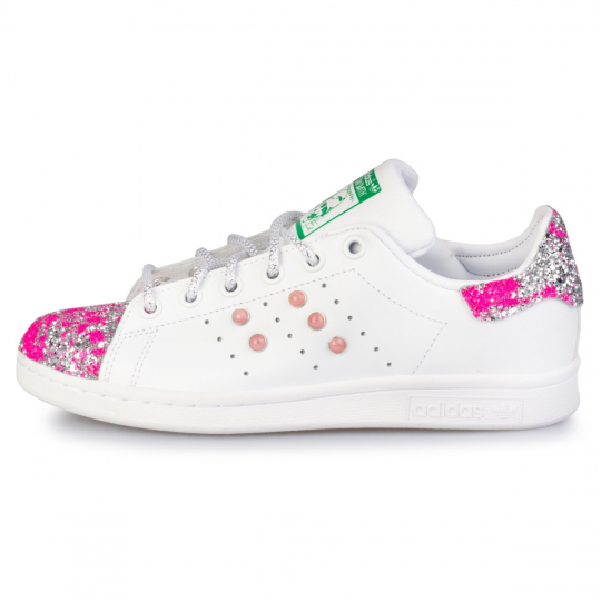 stan smith glitter drip fuxia