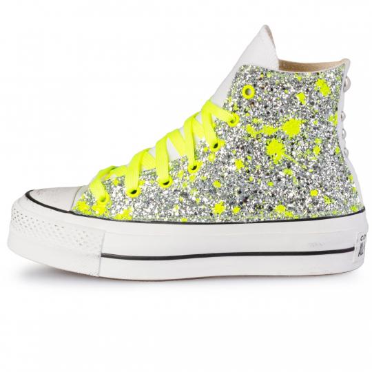 platform white hi yellow neon glitter drip