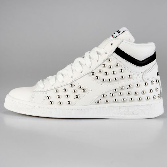 Diadora Game Hi Optical White Black Studs