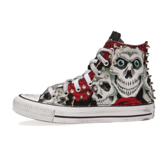 all star hi SKULL AND ROSES FACES