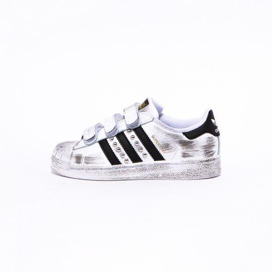 Adidas Superstar Strap White Black Dirty Studs Kid