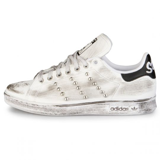 Adidas Stan Smith White Black Dirty Studs