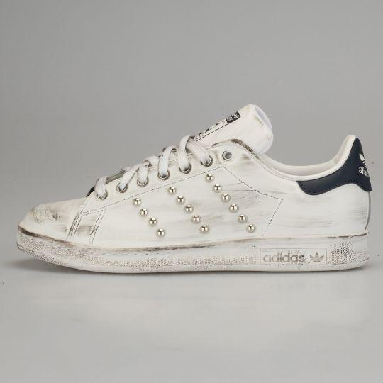 Adidas Stan Smith White Black Dirty Studs