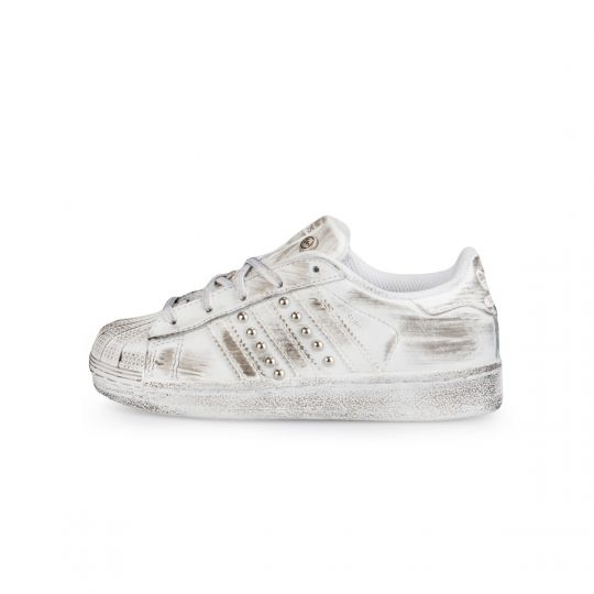 Adidas Superstar Mono White Dirty Studs Kid