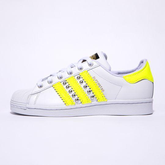 Adidas Superstar Neon Yellow Stripes