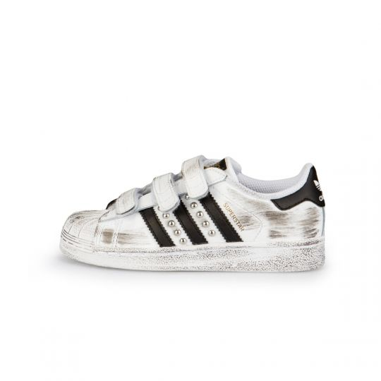 Adidas Superstar Strap White Black Dirty Studs Kid