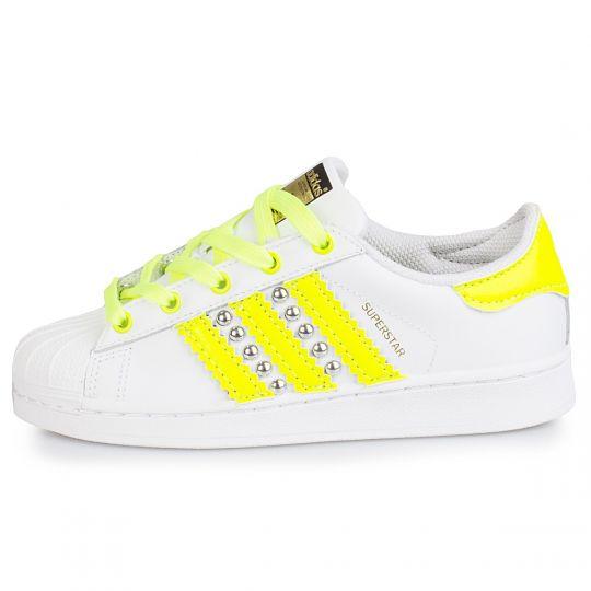 adidas superstar yellow neon studs xx