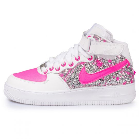 air force mid fuxia neon glitter drip