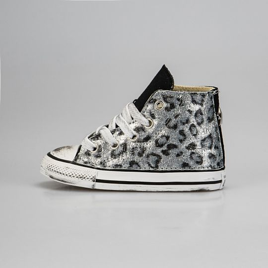 All Star Hi Black Leo Reflex Silver Kid