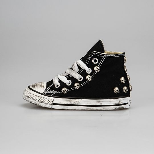 All Star Hi Black Skull Dirty Kid
