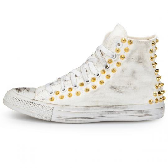 All Star Hi Mono White Back Studs Dirty Gold