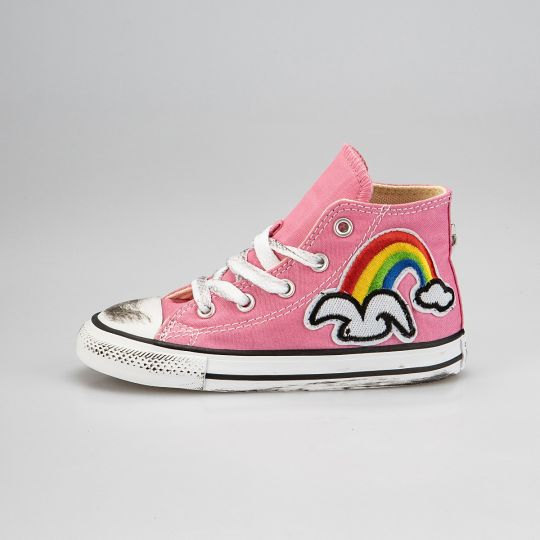 All Star Hi Pink Patch Rainbow Kid