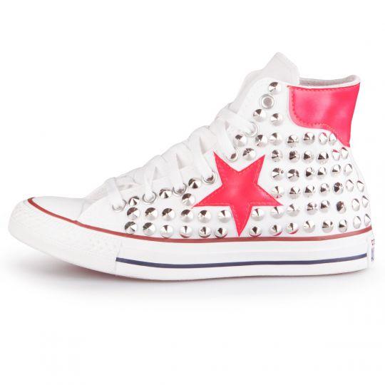 All Star Hi White De-la stars Fuxia Fluo