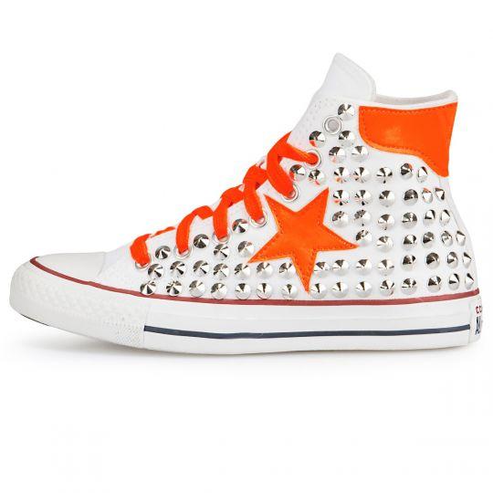 All Star Hi White De-la stars Orange Fluo