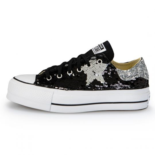 Platform low Black De-la stars Paillettes