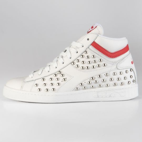 Diadora Game Hi Optical White Red Studs