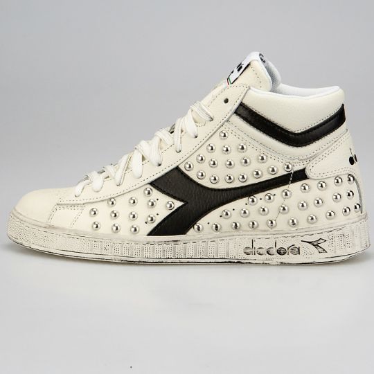 Diadora Game Hi White Black Full Studs