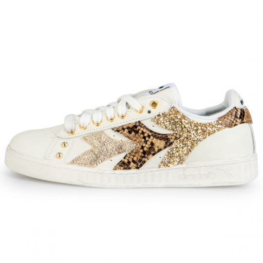 Diadora Game White Swooshy Gold Pytho